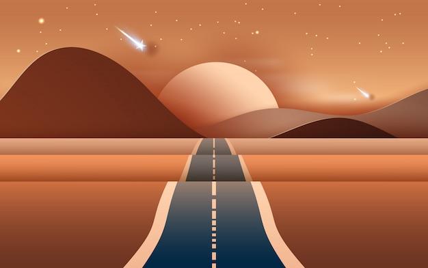 La strada del paesaggio alle montagne asciuga il deserto
