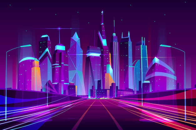 La strada principale moderna della città in lampade stradali illumina l'illustrazione al neon di vettore del fumetto