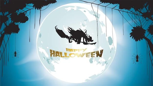 La strega scura di halloween vola con la luna