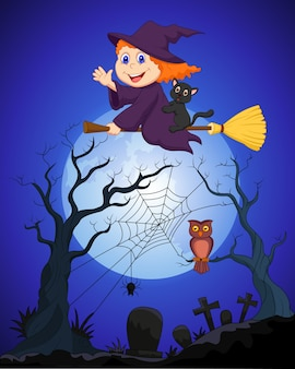 La strega vola su una scopa su una luna piena sopra il cimitero