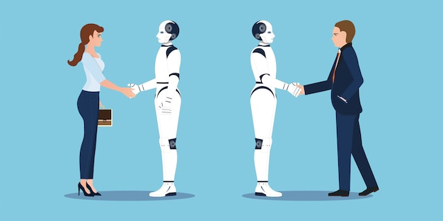 La stretta di mano di affari con le mani dell'essere umano e del robot di affari agita.