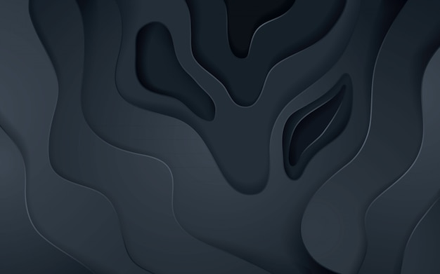 La struttura astratta della decorazione di papercut del nero con sovrappone l'effetto di strati