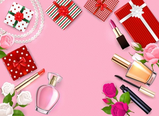La struttura del flatlay del giorno di madri con le profumerie cosmetiche dei regali fiorisce sull'illustrazione rosa del fondo