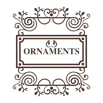 La struttura e gli ornamenti ornamentali firmano sopra fondo bianco. illustrazione vettoriale