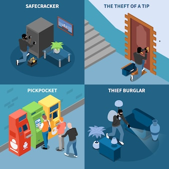 La tasca della scelta dello scassinatore del ladro e il furto sicuro del cracker di concetto di progetto isometrico di punta hanno isolato l'illustrazione di vettore