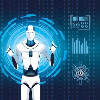 La tecnologia dell'intelligenza artificiale codifica cyborg futuro binario