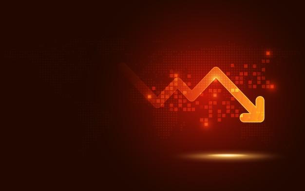 La tendenza del segnale di rosso futuristico cade il fondo della tecnologia dell'estratto del grafico della freccia