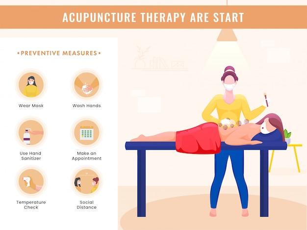 La terapia di agopuntura inizia un poster con i dettagli delle misure preventive e la donna che riceve un trattamento di coppettazione sulla schiena durante la pandemia di coronavirus.