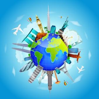 La terra del pianeta viaggia il concetto del mondo sul fondo del cielo blu