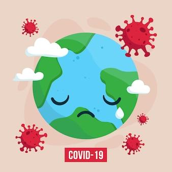 La terra è circondata dal virus corona. il coronavirus attacca il mondo. virus della corona epidemica nel mondo.