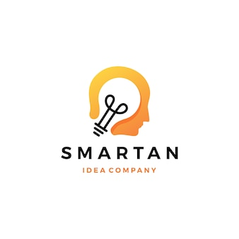 La testa umana astuta pensa l'icona di logo di idea della lampadina