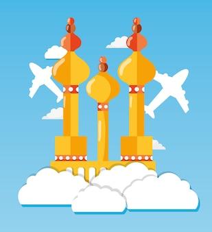 La torre di mosca con l'aeroplano e la nuvola viaggiano