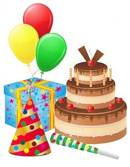 La torta di buon compleanno, il contenitore di regalo, i palloni e gli elementi decorativi hanno messo l'illustrazione di vettore