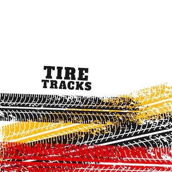La traccia del pneumatico segna il backgorund in diversi colori
