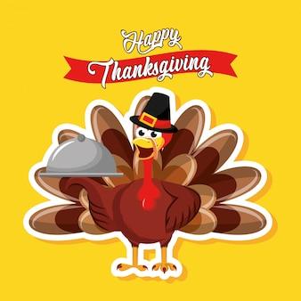 La turchia con vassoio di cibo con carta di ringraziamento felice