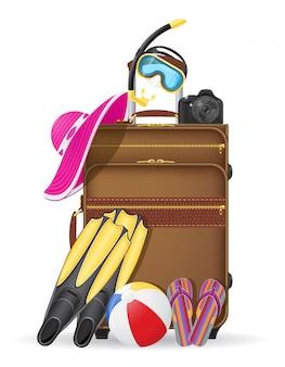 La valigia con gli accessori della spiaggia vector l'illustrazione