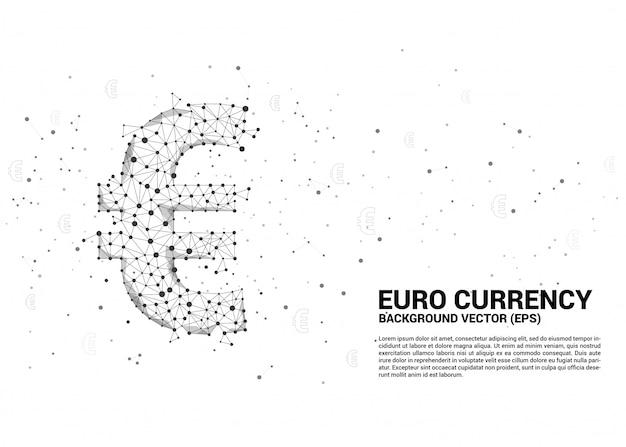 La valuta dell'euro dei soldi di vettore dal puntino di poligono collega la linea