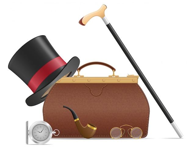 La vecchia valigia e gli retro uomini accessori vector l'illustrazione