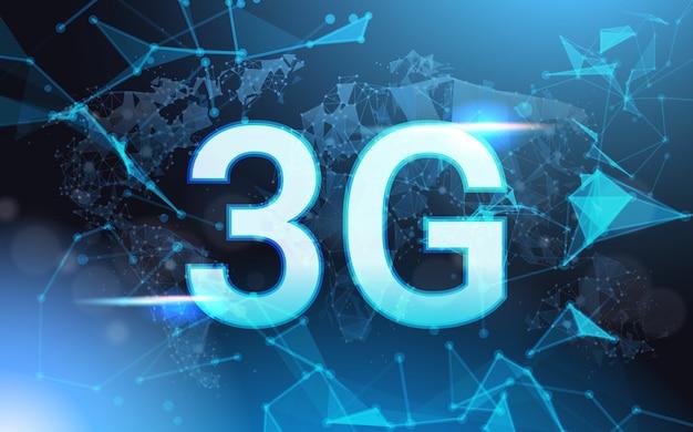 La velocità di connessione a internet di 3g si collega a wireframe low poly futuristico