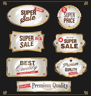 La vendita dorata identifica la retro raccolta di disegno dell'annata