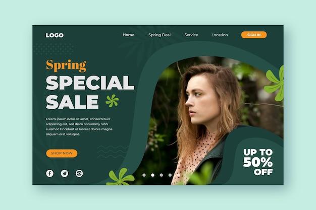 La vendita primaverile speciale offre landing page