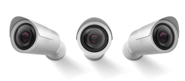 La videocamera di sicurezza, la videocamera del cctv, la via osserva l'attrezzatura di sorveglianza anteriore e la vista di angolo laterale.