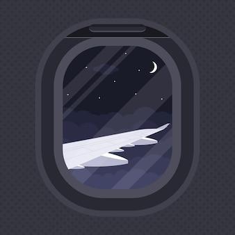 La vista dell'ala dell'aereo attraverso l'illuminatore, illustrazione di stile, viaggi, intorno al concetto del mondo