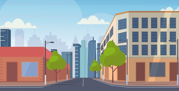 La vista della strada delle costruzioni del grattacielo della via della città non svuota orizzontale piano del fondo di paesaggio urbano del centro della gente