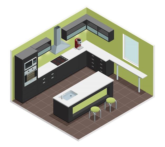 La vista interna della cucina moderna con la contro stufa del fornello della gamma fornice il frigorifero del frigorifero