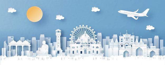 La vista panoramica di ahmedabad, india con il tempio e la città profilano con i punti di riferimento di fama mondiale nello stile del taglio della carta
