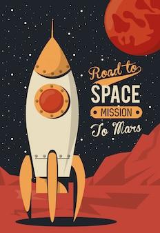 La vita nello spazio poster con il lancio di un razzo