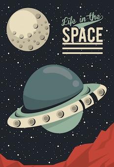 La vita nello spazio poster con ufo volante