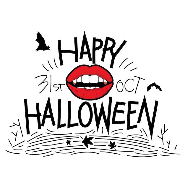 Labbra, bocca di dracula con tipografia per il giorno di halloween