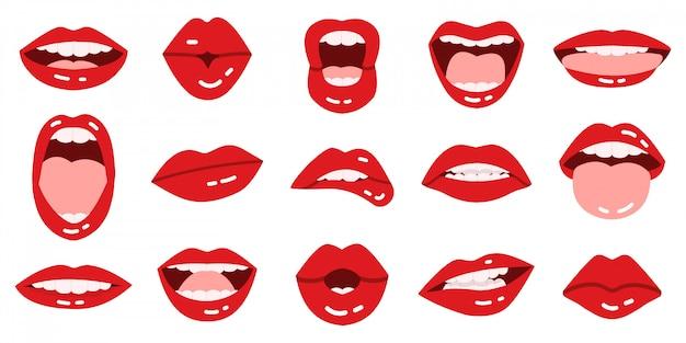 Labbra dei cartoni animati labbra rosse delle ragazze, bello sorridere, baciare, lingua di manifestazione, labbra rosse con le icone espressive dell'illustrazione di emozioni messe. bacio di rossetto in bocca, collezione glamour rosso