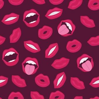 Labbra femminili. bocca con un bacio, sorriso, lingua, denti e baciami scritte sullo sfondo. seamless comico in stile retrò pop art. modello senza cuciture astratto per ragazze, ragazzi, vestiti.