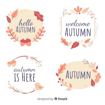 Labelcollection di autunno disegnato a mano