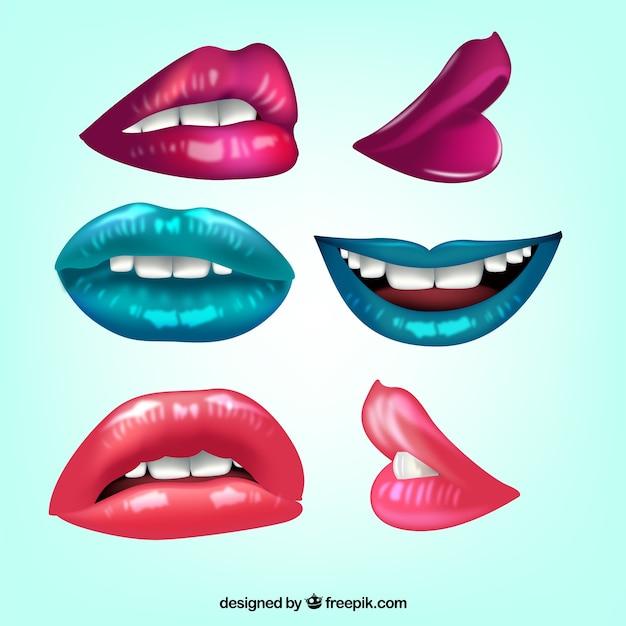 Labios realistas con diferentes colores