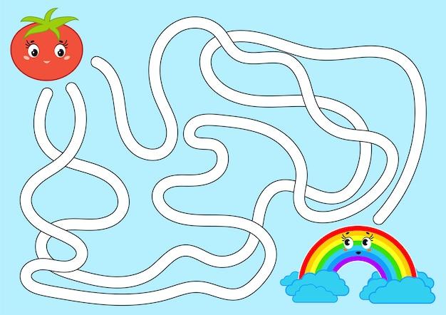 Labirinto astratto di colore. aiuta il pomodoro a raggiungere l'arcobaleno.