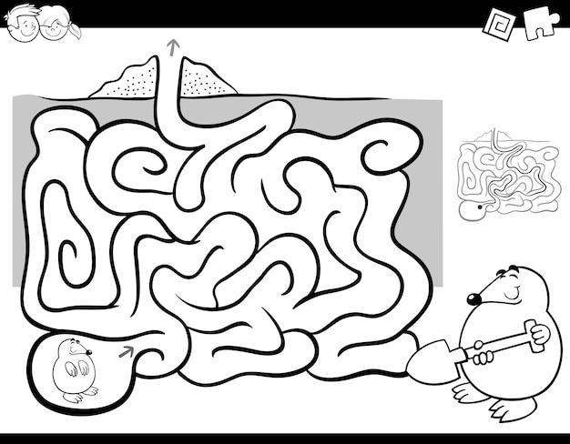 Labirinto attività libro da colorare con talpa animale
