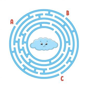 Labirinto circolare. gioco per bambini. puzzle per bambini. enigma del labirinto rotondo.