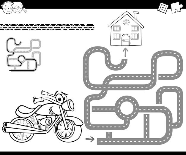 Labirinto con bici per colorare