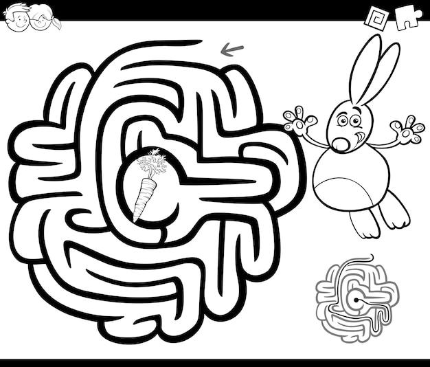 Labirinto con coniglio da colorare