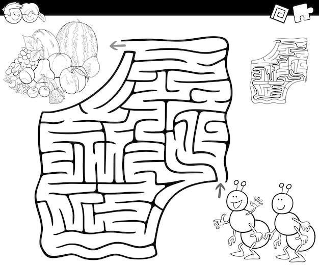 Labirinto con formiche e frutti per la colorazione