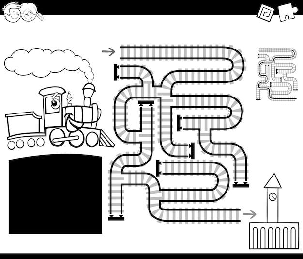 Labirinto con la pagina da colorare locomotiva