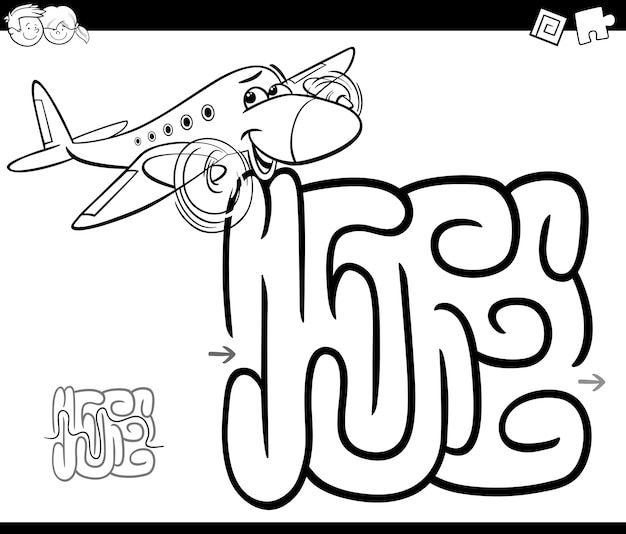 Labirinto con pagina da colorare aereo