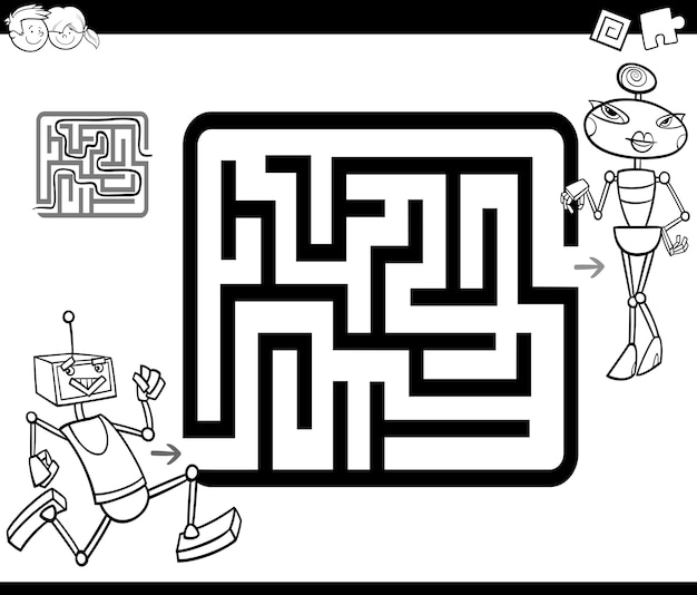 Labirinto con robot da colorare