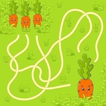 Labirinto divertente gioco per bambini. puzzle per bambini. personaggio dei cartoni animati. labirinto enigma.