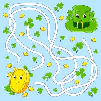 Labirinto divertente per i bambini. moneta, cappello. festa di san patrizio. puzzle per bambini. personaggio dei cartoni animati.