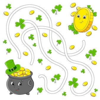 Labirinto divertente per i bambini. pentola, moneta. festa di san patrizio. puzzle per bambini.