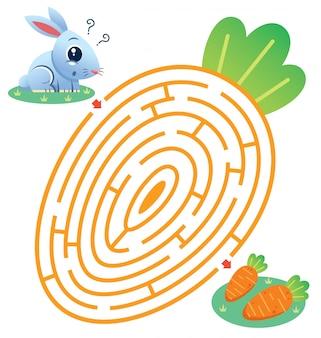 Labirinto educativo gioco coniglio alla carota. gioco per bambini